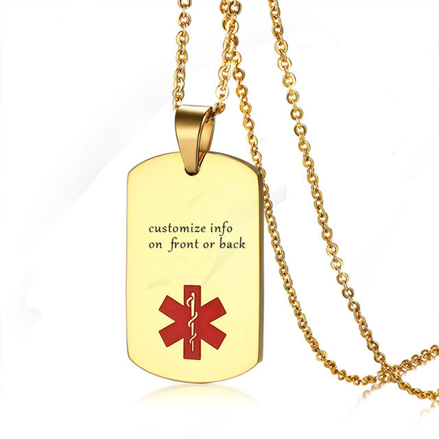 Custom Engraved Gold Medical Alert ID Tag Necklace Pendant Stainless Steel Chain for Patients