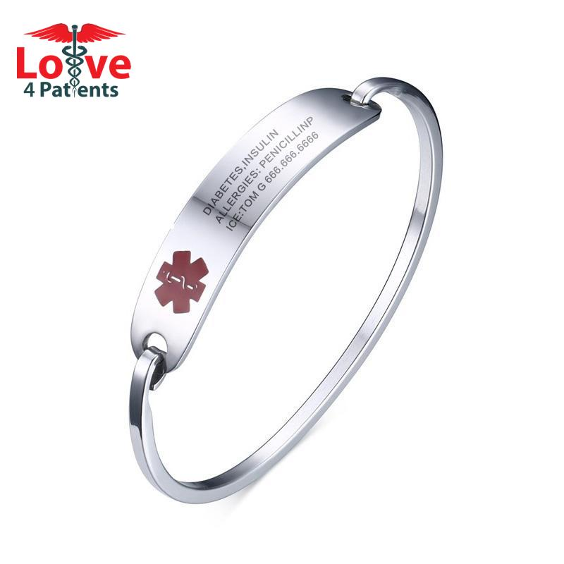 Custom Engraved Medical Alert ID Cuff Bangle Bracelet for Patients (Stainless Steel Gold/Silver Color Cuff Design)