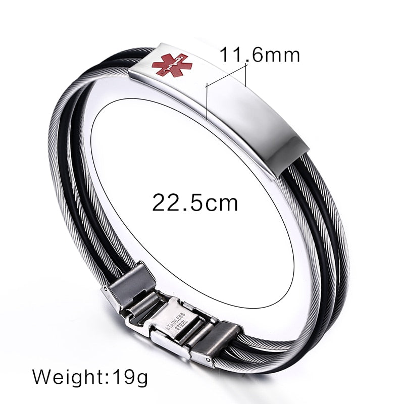Stainless Steel Stripes Custom Engraved Medical Alert ID Bracelet for Patients