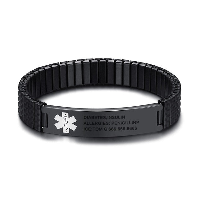 Custom Engraved Stainless Steel Medical Alert ID Stretch Bracelet