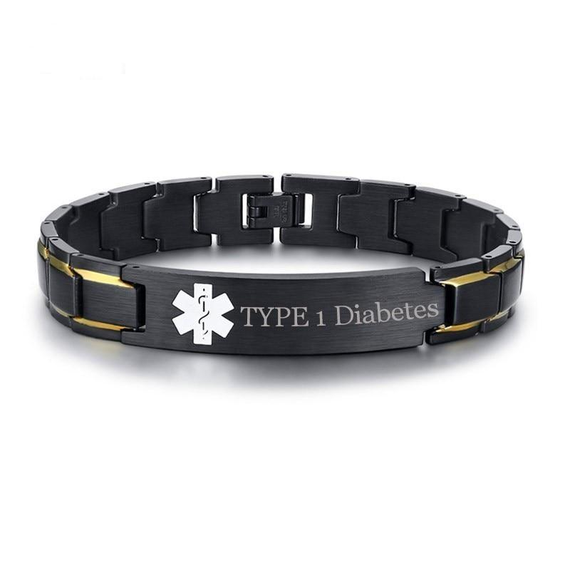 Black and Gold Colored Stainless Steel Custom Engraved Medical Alert ID Bracelet