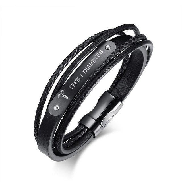 Stainless Steel Genuine Leather Wristband Black Medical Bracelet (Personalized Engraving Available)