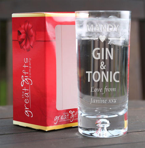 Personalised Engraved Boxed Gin & Tonic Glass