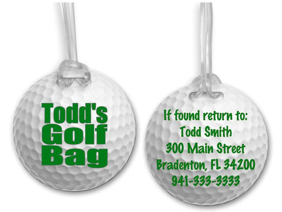 Golf Bag Tag, Sports Bag Tags