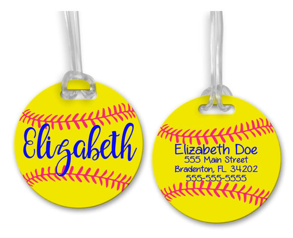 Softball Bag Tag, Sports Bag Tags