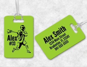 Lacrosse Player Bag Tag, Sports Bag Tags