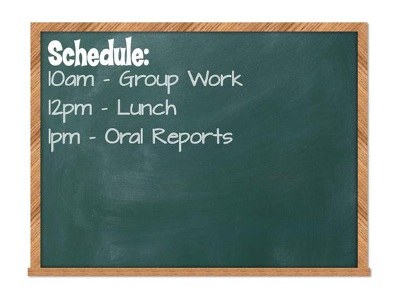 Schedule Chalboard or Whiteboard Decal, Classroom Decal
