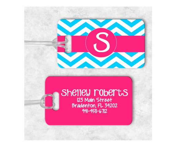 Chevron Initial, Monogram Luggage Tag