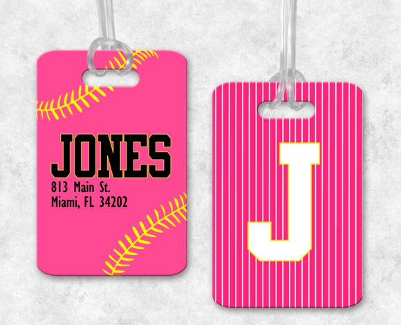 Softball Luggage Tag, Sports Bag Tags