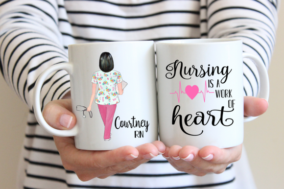Nursing is a Work of Heart, Personalized Nurse Mug