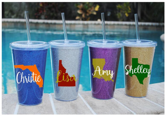 Collegiate or State Love Glitter Tumbler