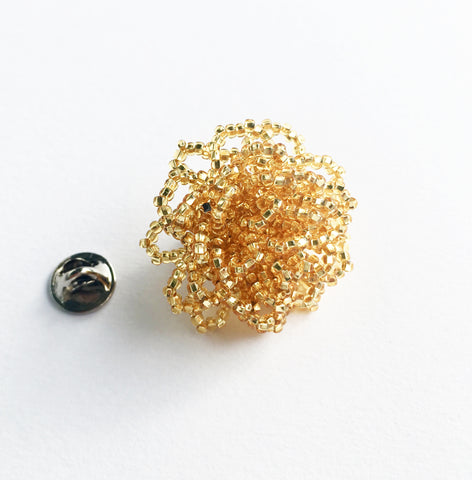 Beaded Lapel Bloom, Gold