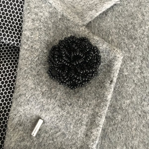 Beaded Lapel Bloom, Black