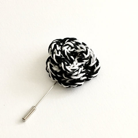 Lapel Bloom with Long Pin, Black & White