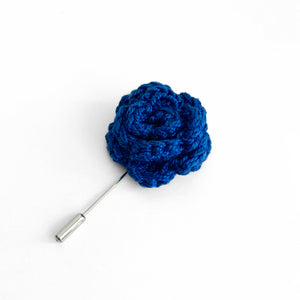 Lapel Bloom with Long Pin, Cobalt