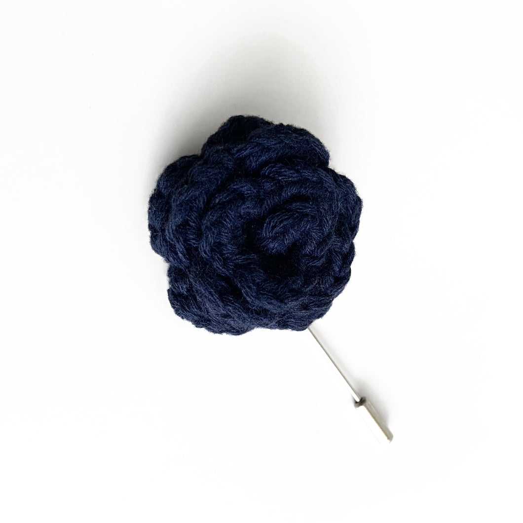 Lapel Bloom with Long Pin, Navy