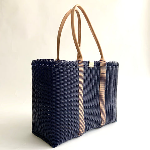 City Market Bag, Navy, Leather Handle