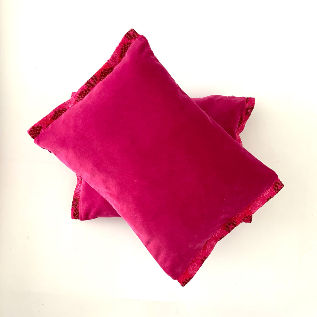 Huipil Cushion Cover, Velvet, Fuchsia