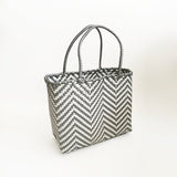 Graphic Market Bag, Grey Chevron Weave