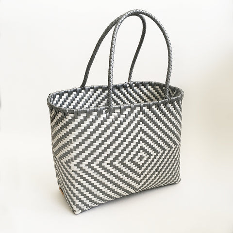 Graphic Market Bag, Grey Diamond Weave
