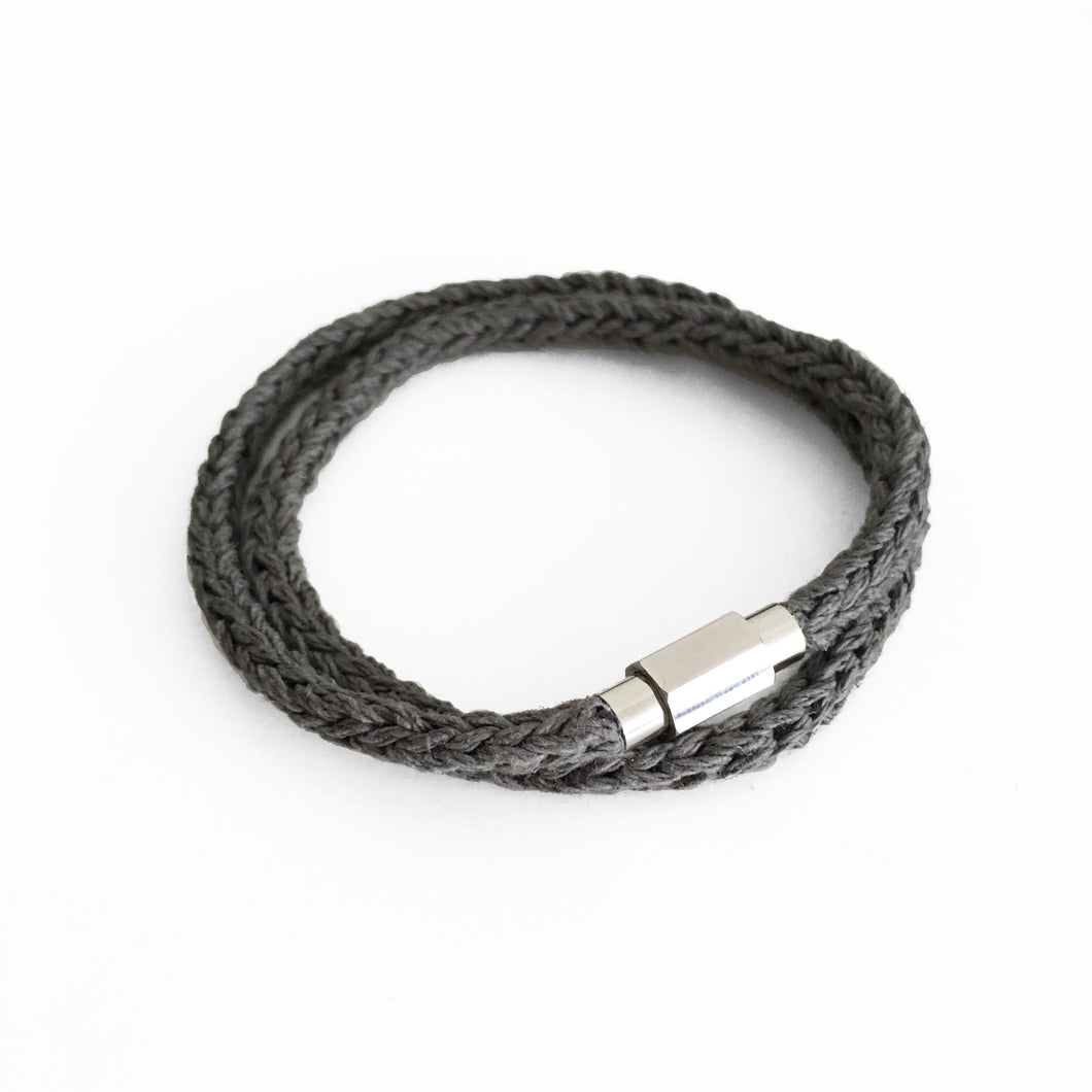 Hemp Wrap Bracelet, Grey & Silver