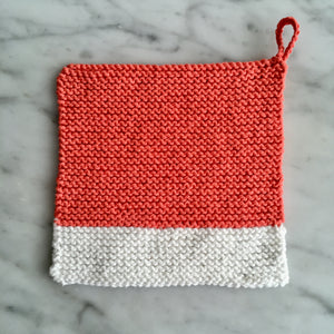 Colour Chip Pot Holder/Dish Cloth, Coral