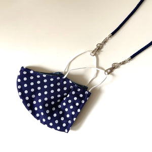 Lanyard for Mask, Cotton, Navy