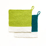 Colour Chip Pot Holder/Dish Cloth, Teal