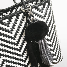 Load image into Gallery viewer, Triple Tassel Pompom, Black/White/Grey