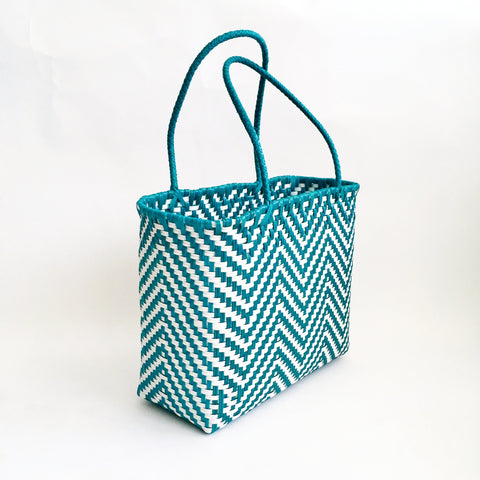 Graphic Market Bag, Teal Chevron Weave