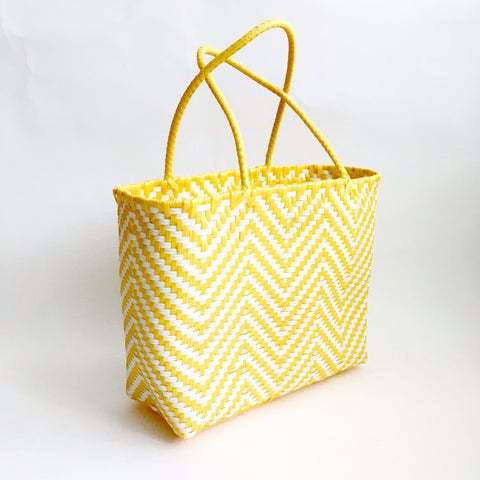 Graphic Market Bag, Yellow Chevron Weave
