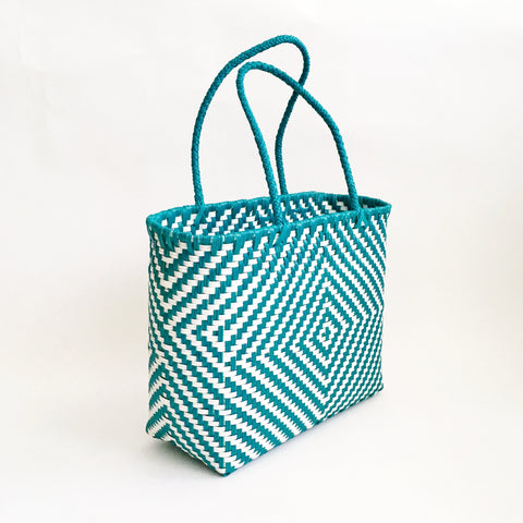 Graphic Market Bag, Teal Diamond Weave