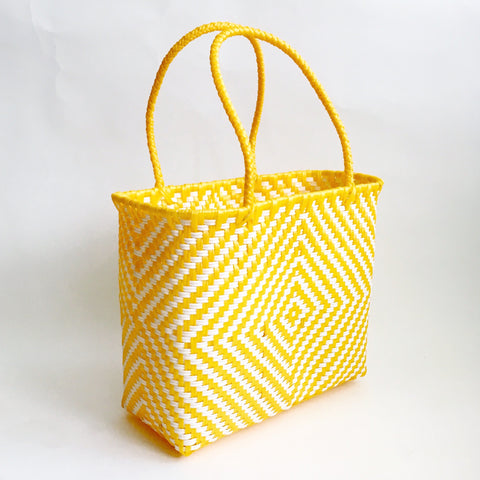 Graphic Market Bag, Yellow Diamond Weave