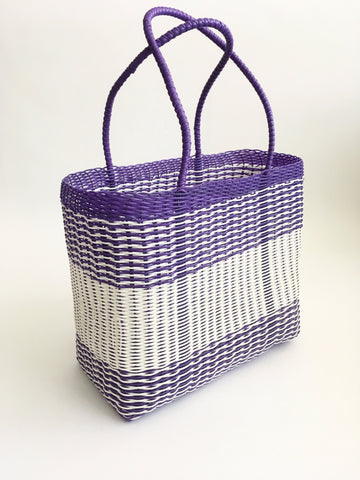 Classic Market Bag, Purple Tribal Stripe