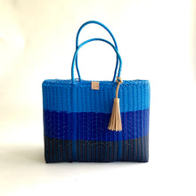 Load image into Gallery viewer, Classic Market Bag, Ombré, Navy, Royal & Sky Blue
