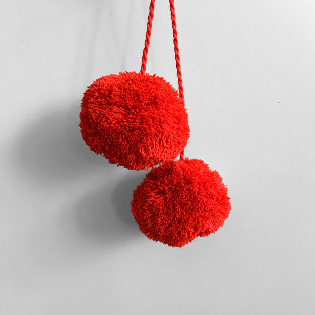 Pompom Pair, Cadnium Red