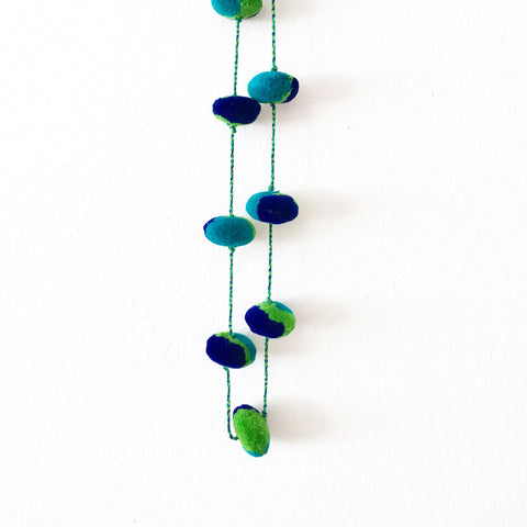 Pompom Necklace, Turquoise/Indigo/Lime
