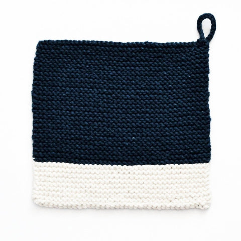 Colour Chip Pot Holder/Dish Cloth, Indigo