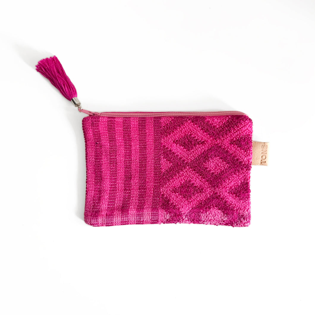 Second-life Pouch Toto, Geo, Small, Fuschia/Deep Magenta
