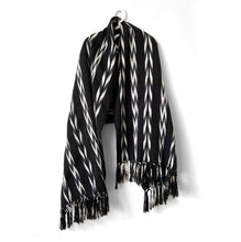 Load image into Gallery viewer, Rebozo Wrap, Quetzaltenango, Black, Charcoal & White