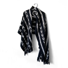 Load image into Gallery viewer, Rebozo Wrap, Quetzaltenango, Black, Grey & White