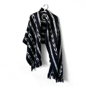 Rebozo Wrap, Quetzaltenango, Black, Grey & White