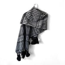 Load image into Gallery viewer, Rebozo Wrap with Tassels, Totonicapan, Black, Grey & White