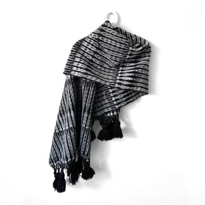 Rebozo Wrap with Tassels, Totonicapan, Black, Grey & White