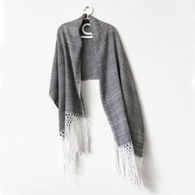 Load image into Gallery viewer, Geometric Shawl, Black & White
