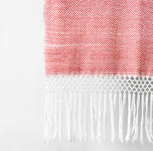 Load image into Gallery viewer, Geometric Shawl, Coral & White