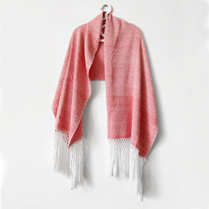 Geometric Shawl, Coral & White