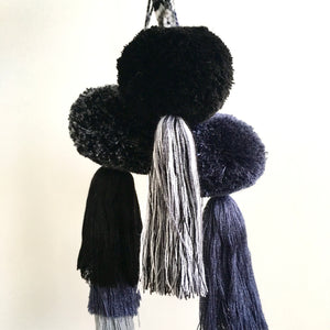 Pompom/Tassel, Friendship, Black/White/Grey