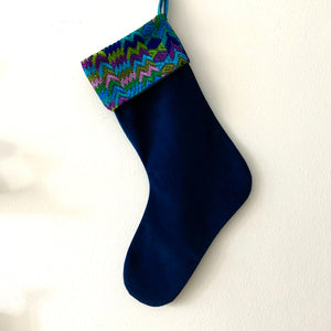 Second-life Stocking, Velvet, Navy/Turqouise