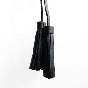 Tassel Pair, Small, Black Leather